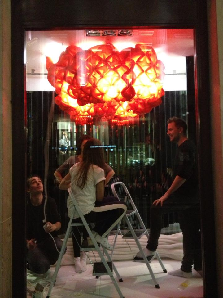 "Jessica Beagleman, Andrei Jippa, Saraj Shuttleworth and Savvas Havatzias helping to set-up ""the sky"""