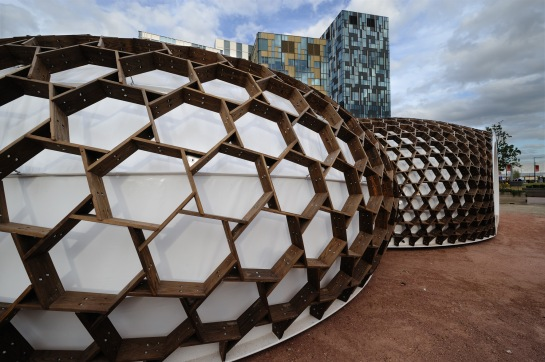 KREOD by Pavilion Architecture is a reciprocal timber gridshell (with RCD  and Evolute)