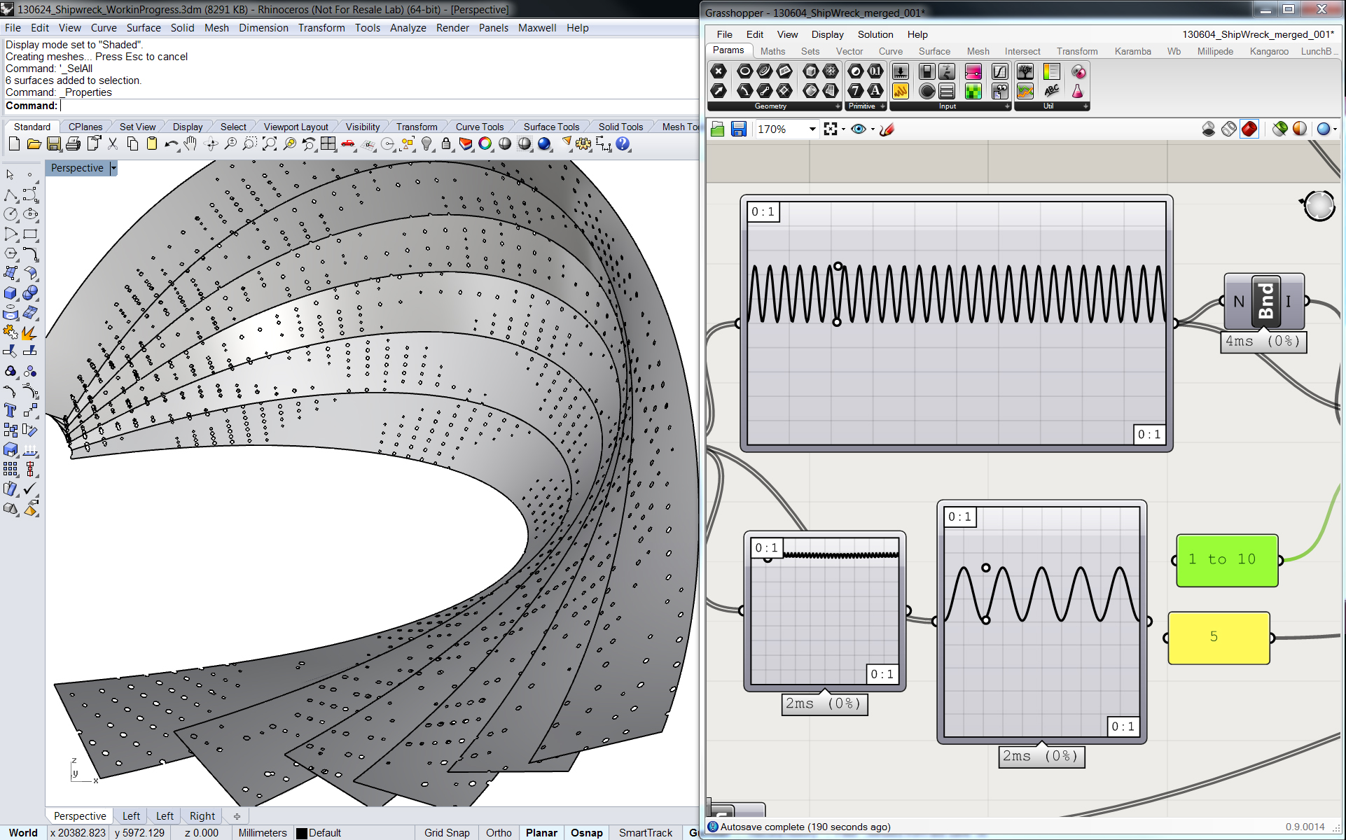The Sine curve Interface controlling the back strips openings on Grasshopper