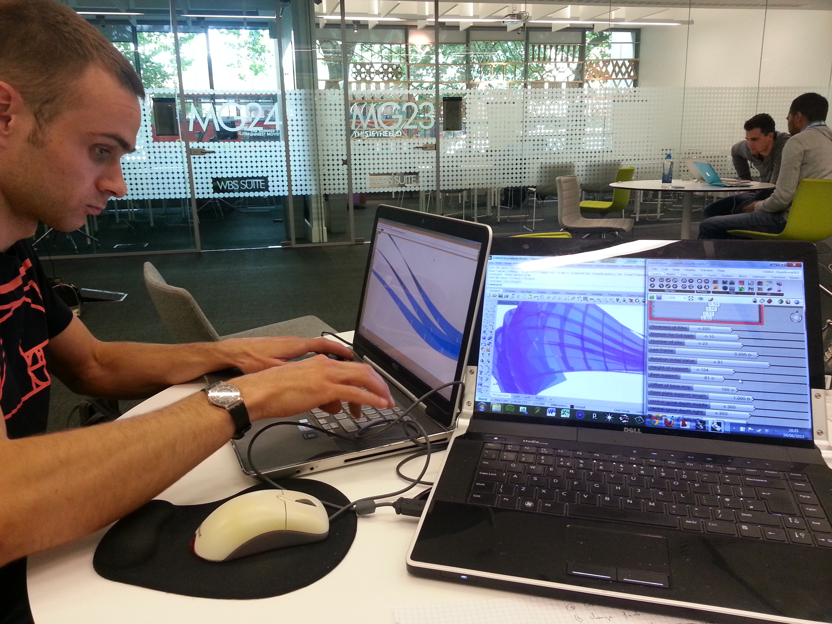 Working on the parametric model with Chris Ingram at Westminster University