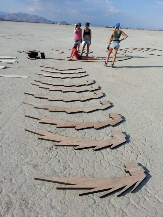 All the Shipwreck parts unrolled on the desert floor before assembly