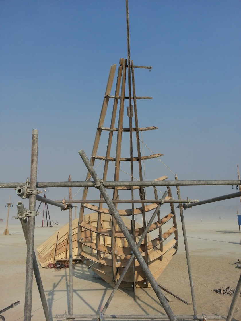 Construction process, the shipwreck hammock cantilever being erected