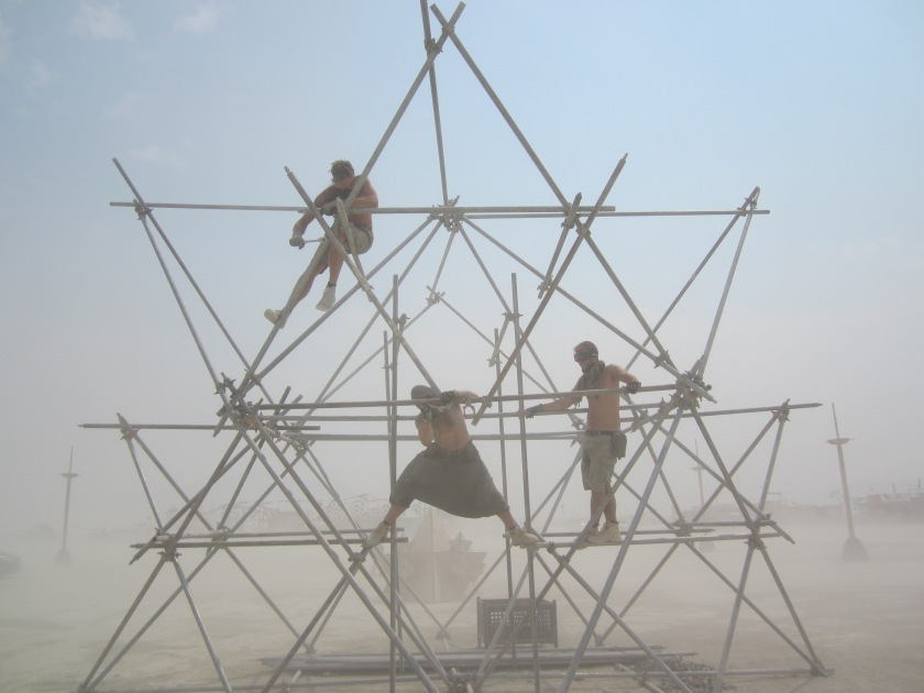 Toby, Luka and Tim assembling the scaffolding for Fractal cult