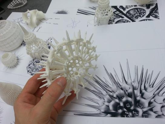Andrei Jippa's RepRap 3d printed radiolarias with digital model