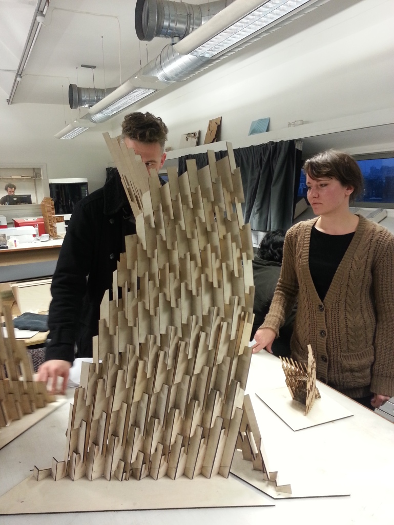 Ieva Ciocyte's Flame Tower made of Intersecting plywood components