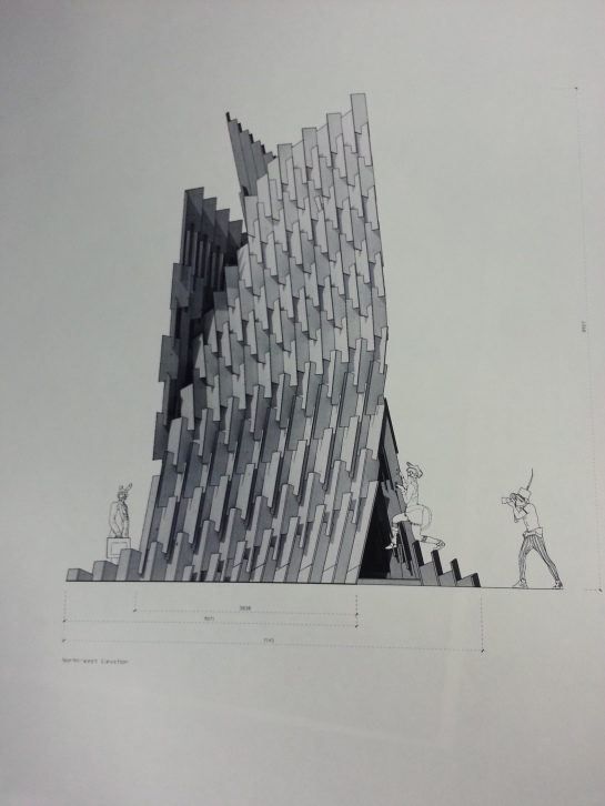 Elevation 1 - Ieva Ciocyte Interlocking Plywood Tower