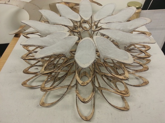 Paul Thorpe's laser-cut Petal Modules for Burning Man