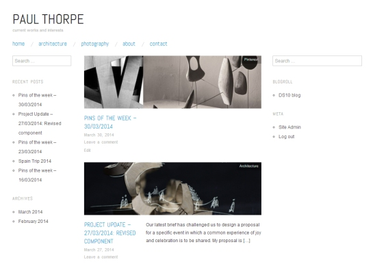 blog front page