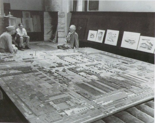 3.7m x 3.7m model of one part of Broadacre City, exhibited by Frank Lloyd Wright