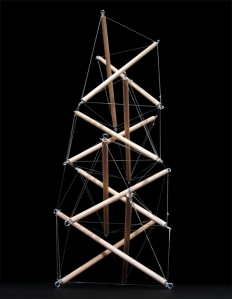Basic tensegrity structure made up a tower. Photo courtesy to LiftArchitects