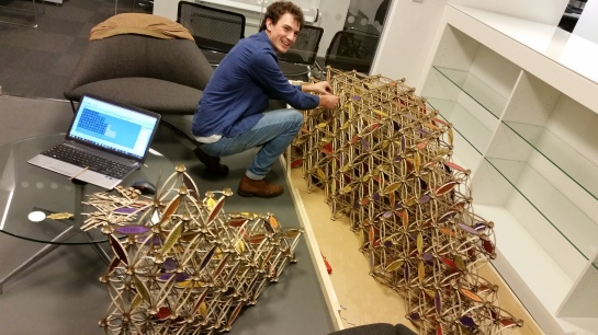 Joe Leach working on the Falling Leaves, his installation for Buro Happold engineering