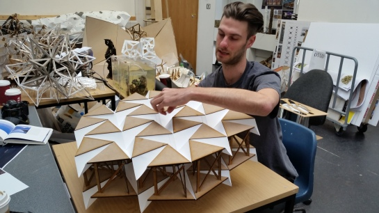 John Konings showing his prototype for an Origami City on Water generating electricity from the waves in Holland.